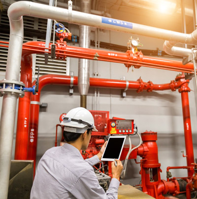 Engineer Working with Fire Suppression System