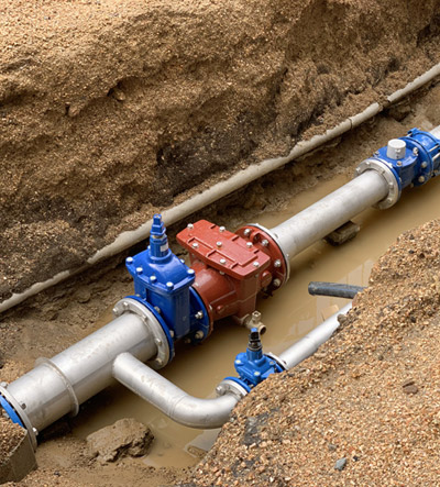 New water pipe in the ground